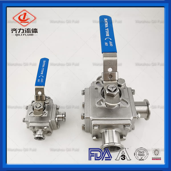 CF3M CF8M Hygienic Manual 3 Way Full Bore Encapsulate PTFE Ball Valves