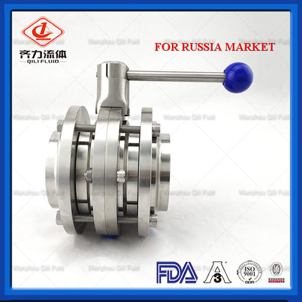 Sanitary Stainless Steel 3 Pieces Butterfly Valve