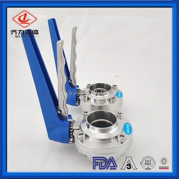 Sanitary Stainless Steel Male Welding Butterfly Valve with Multi-connection