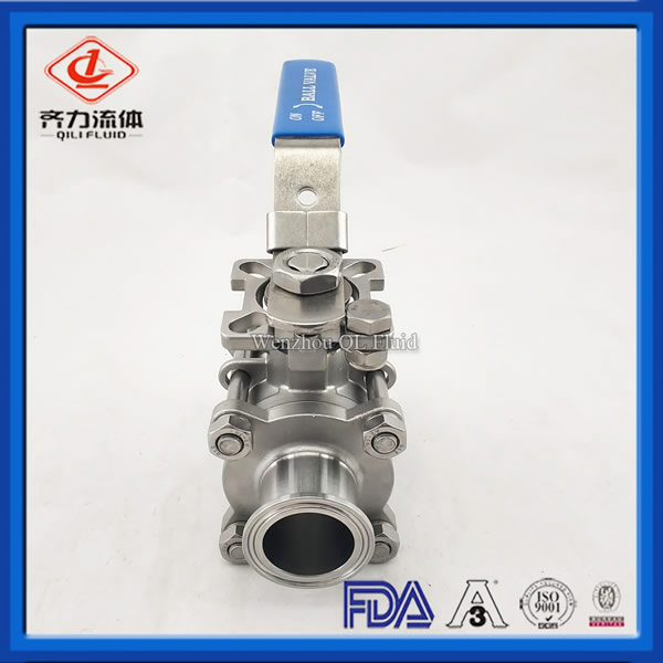Clamp End Ball Valve Control Medium Flow Used in Food & Beverage