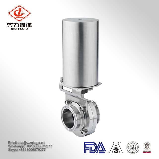 High Quality Factory Price 304/316L Sanitary Stainless Steel Pneumatic Butterfly Valve