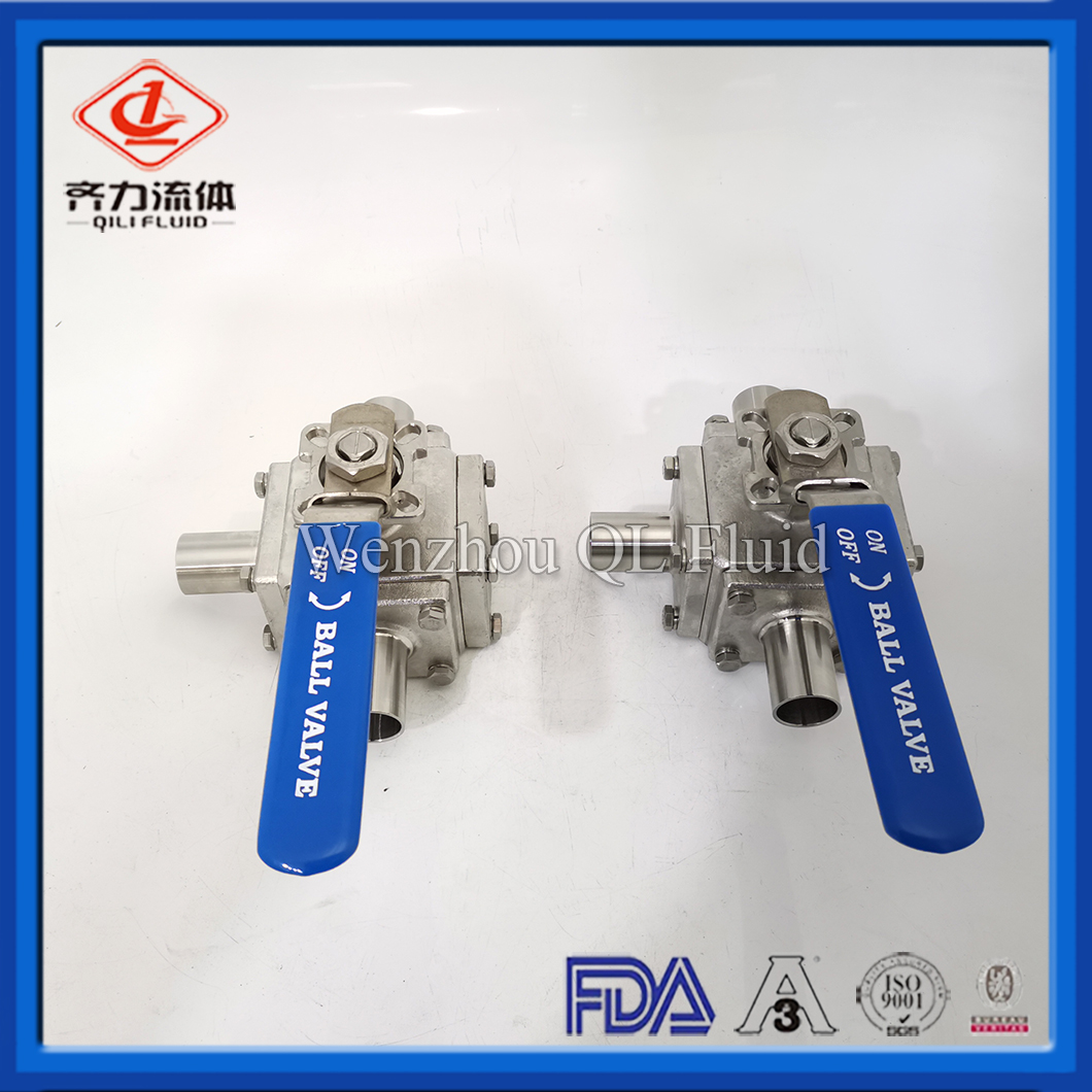 316L Hygienic Stainless Steel Full Capsoluted Three Way Ball Valve With Welding Ends