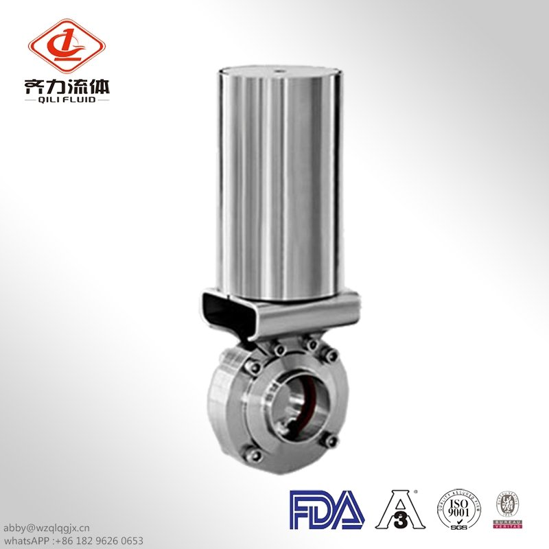 Sanitary Stainless Steel Pneumatic Clamp End Butterfly Valve