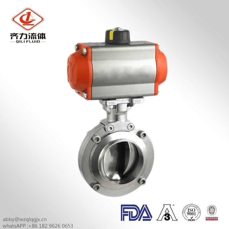 Sanitary Butterfly Valve with Pneumatic Actuator Double Acting