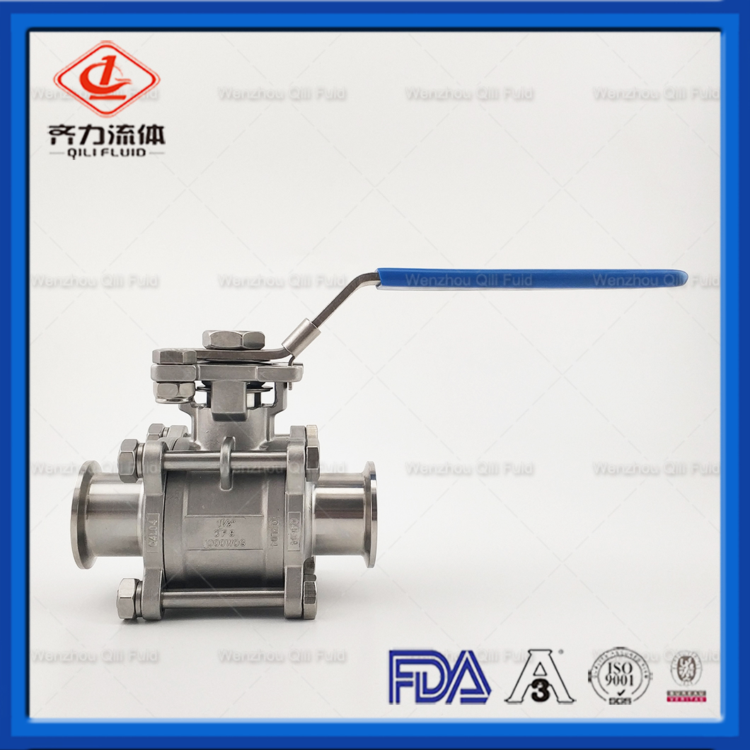 Sanitary SS304 food grade ball valve with high platfome CF8M