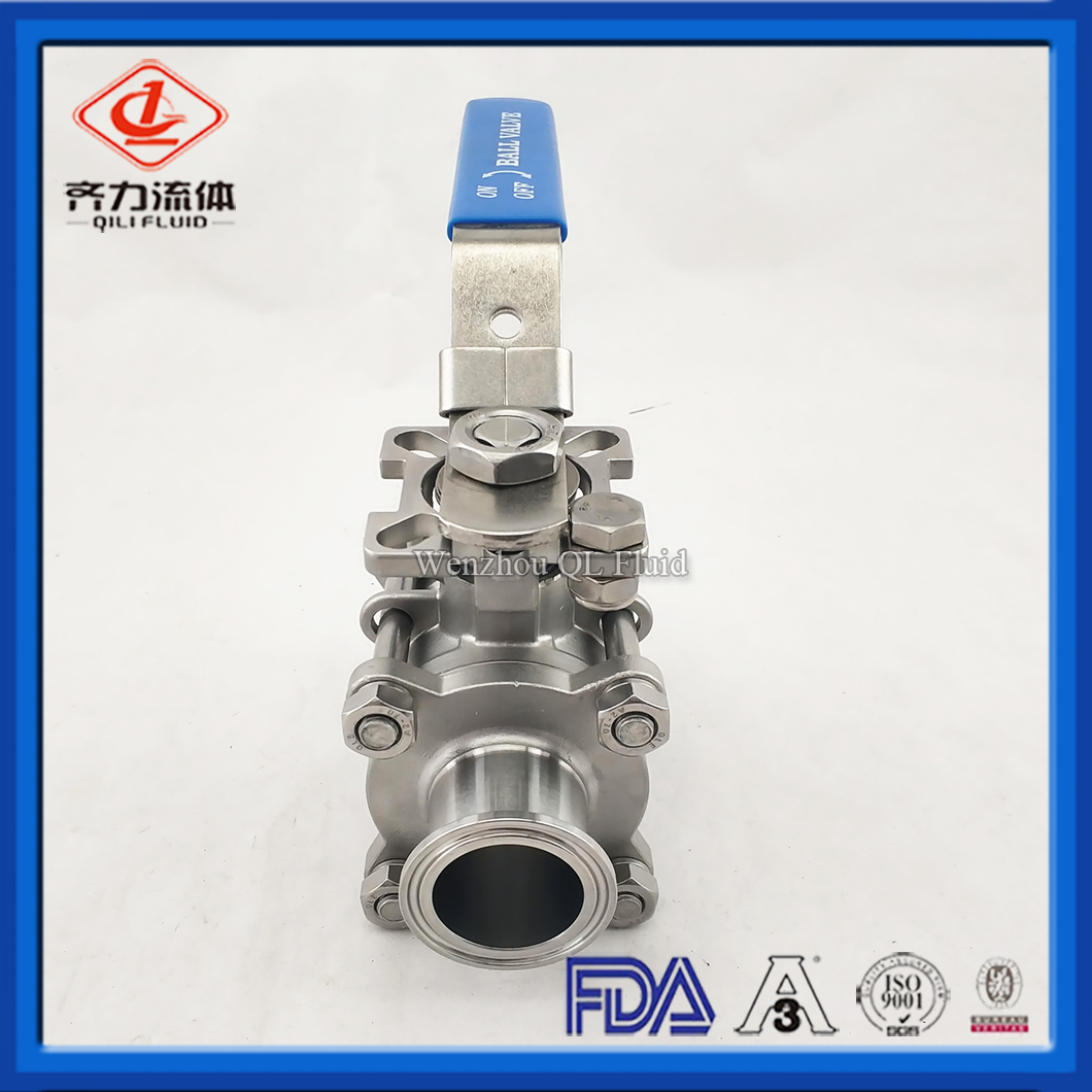 Sanitary Stainless Steel 3-Way Ball Valve With flang Ends, Manual Type