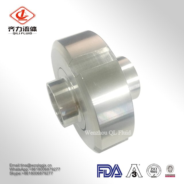 SS304/316L Sanitary Stainless Steel 3A SMS DIN ISO Pipe Fitting Union Round Nut Male Welding Liner