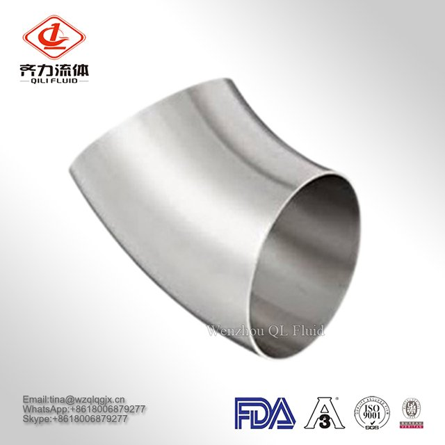 Stainless Steel Sanitary Fitting Food Grade 45D Bright Annealed Elbow